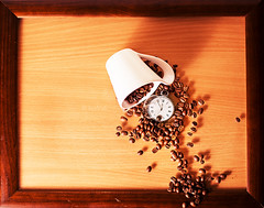 Coffee time (Ivo.Vuk) Tags: old morning food brown white abstract hot macro clock cup coffee metal closeup modern contrast silver point cafe movement close pointer time drink background watch grain harvest grow style plate bean vuk roast retro burn hour mug second instant backdrop moment clockworks scratched aromatic timer grind chronometer mechanism roaster twelve ivo roasted minute vukelic