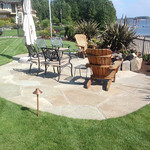 """Greenhaven Landscapes Inc., outdoor lighting, stone patio, stone pavers, grass, lawn, fire pit, fireplace, rock fire place, stone fire pit, outdoor entertainment <a style=""""margin-left:10px; font-size:0.8em;"""" href=""""http://www.flickr.com/photos/117326093@N05/12824415055/"""" target=""""_blank"""">@flickr</a>"""