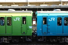 JRG+JRB (m-louis) Tags: 大阪環状線 環状線 kanjosen osaka japan train jr sakuranomiya 桜ノ宮 green blue 100faves 10000views 200faves 20000views explore
