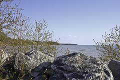 View of Lake Huron (awaketoadream) Tags: trees sky lake ontario canada water canon eos spring rocks poplar day may clear huron balsam goderich 2014 60d