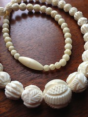 Carved Ivory Beads (blackthorne56) Tags: beads carved skin ivory seal goodwill