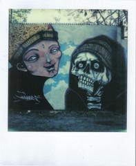 Graffiti - Rosas 2626 (hikaru86) Tags: chile santiago slr vintage project polaroid sx70 graffiti stencil mural arte jordan cielo instant abierto 690 70 86 680 sepulveda impossible hikaru sx cámara callejero instantanea hikaru86 jordansepulvedalazo