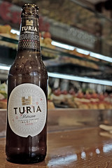 Bottle of Turia (new Valencian beer- ale ) (Fuji X100S) (markdbaynham) Tags: city beer valencia bottle spain fuji ale x espana spanish local trans sensor turia valencian mirrorless x100s