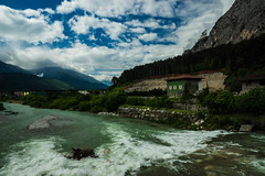 Streaming in Trentino ... (TrippinOn) Tags: sky italy mountains alps water clouds river stream italia village fiume channel trentino dolomiti adige maso gobbo fiumi pietramurata