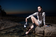 Soot (Andrew Kevin Benson) Tags: 2 portrait beach water girl beautiful fashion 35mm canon hair landscape clothing amazing pond sand rocks long pretty mark f14 label 85mm sigma noosa 5d soot earphones f12 the