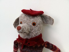 dog 5 has a beret (Mimi K) Tags: boy dog wool sweater doll fair beret isle
