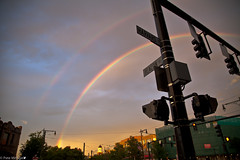 Rainbow Over Coolidge (petemonge) Tags: sunset rain boston corner train rainbow harvard coolidge mbta brookline beacon