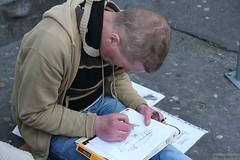 Faces of Ireland: street artist asking for donation (Can Pac Swire) Tags: county city ireland dublin irish man pencil sketch centre central beggar streetartist co panhandler republicofireland éire westlandrow aimg1146