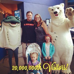The Aquarium's ray and polar bear mascots welcomed Travis Thurmond, Andrea Chastain, and kids Rylee and Devin. Andrea was our 20 millionth visitor since our grand opening 15 years ago! (Aquarium of the Pacific) Tags: square squareformat rise iphoneography instagramapp uploaded:by=instagram