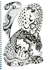 Listen (AnnieM00) Tags: blackandwhite pattern inking zentangle zendoodle