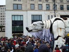 Aurora roars at Shell HQ (JudyGr) Tags: london giant march puppet protest shell greenpeace demonstration polarbear aurora londonist dsc06108 savethearctic