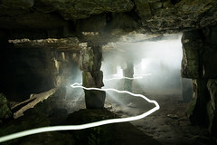 Cave Darkness (Quarry Light Painting & Smoke), Dorset (flatworldsedge) Tags: light roc