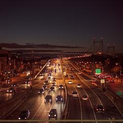 (EYECCD) Tags: road newyork cars night subway square gold traffic dusk platform queens astoria flickrstock 550d robertfkennedybridge