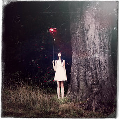 the red balloon 7 (arrowlili) Tags: red portrait tree texture girl grass woods fineart balloon surreal lensflare conceptual