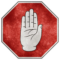 Stop Sign Grunge - Ulster Hand Variant (Free Grunge Textures - www.freestock.ca) Tags: old ireland red irish white black texture crimson sign danger warning vintage grit grey design high heraldry hand message traffic flat graphic image symbol antique decorative finger quality grunge fingers north stock gray grain decoration picture free gritty icon eire dirty palm retro communication stop caution worn signage damage resolution thumb aged grainy grime damaged northern res signal pictogram isolated alert octagon resource symbolic textured grungy ulster pictograph grimy octagonal grunged grittiness pictographic freestockca