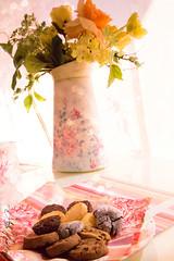 Yum! (AlaHamdan) Tags: morning pink food sun flower coffee cookies sunshine cake breakfast dessert yum tea girly amman jordan sweets restaurent