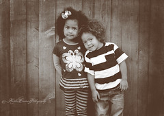 (Krista Cordova Photography) Tags: boy fall girl kids portraits children sister brother brotherandsister woodfence cutekids sisterandbrother hispanicchildren africanamericanchildren