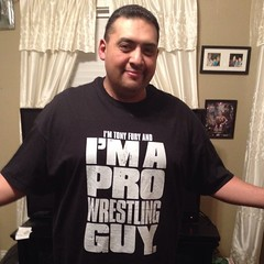 Tony Fury shows off his customised Pro Wrestling Guy tee