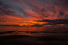 Red Sky in the Morning (Nick L) Tags: red sea sky orange sun sunrise dorset redsky groyne theneedles redskyinthemorning friarscliff yourbestoftoday 5d3 canon5d3 theneedlessunrise
