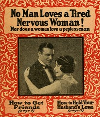 No Man Loves a Tired Nervous Woman! (Alan Mays) Tags: ephemera booklets books bookcovers covers advertising advertisements ads medicalephemera paper printed medical men women tired nervous pepless pep peppy love vinol patentmedicines medicines cures remedies diseases impotence adlerika laxatives gas constipation bloating hands fingers pointing illustrations strange unusual red 1930s antique old vintage typefaces type typography fonts