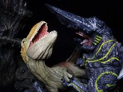 What Killed the Dinosaurs? (ridureyu1) Tags: toy toys actionfigure kaiju pacificrim neca guillermodeltoro toyphotography giganotosaurus whatkilledthedinosaurs sonycybershotsonycybershotdscw690 knifehead necapacificrim schleichgiganotosaurus kaijuvsdinosaur kaijumovie