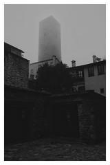 Towers (Linus Wärn) Tags: blackandwhite italy tower monochrome fog blackwhite foggy medieval fujifilm bergamo lombardy fujifilmxe1