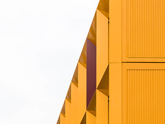 container housing#2 (morbs06) Tags: amsterdam abstract architecture building city colour container diagonal facade gelb geometry housing light lines metal pattern repetition stripes undulated white windows yellow