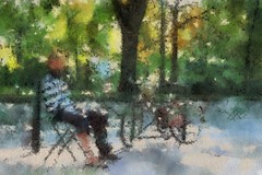 A time to reflect (18mm & Other Stuff) Tags: autopainter relax man bike toulouse france impressionist painteffect paulcézanne