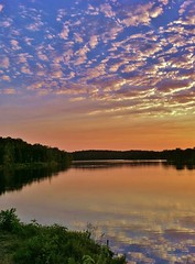 Spencer Lake (acxicat) Tags: sunset lake reflection water clouds landscape 4 arkansas iphone