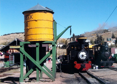 Trains CO Cripple Creek Narrow Guage Train Yellow Water Tower DS 2003