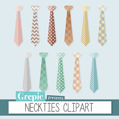 "Neckties clipart: ""NECKTIES CLIPART"" - neck ties with polkadots and plaid patterns in a vintage style for scrapbooking, card making, invites (workyourart) Tags: neckties neck ties clipart clip art necktie tie vintage digital"