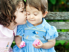 Give her a kiss... (Barbara Taeger (formerly Pianogram)) Tags: family girls color sisters easter children kiss affection siblings connection pianogram barbarataeger