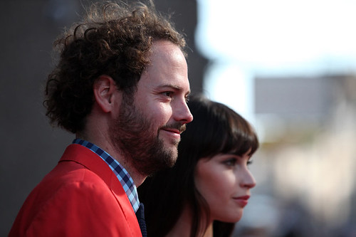 Director Drake Doremus and Felicity Jones on the red carpet for the European premiere of Breathe In