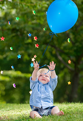 Reaching for the Stars (Warriorwriter) Tags: birthday color stars child vibrant joy balloon happiness float