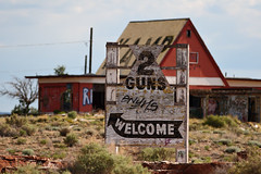 Hey There, Pardner, Welcome to Two Guns, Arizona on Route 66 (eoscatchlight) Tags: arizona abandoned sign graffiti route66 decay roadsideamerica decayed fallingdown twoguns fadingamerica