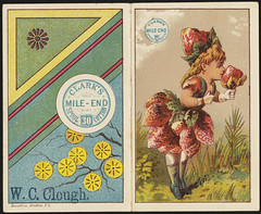 Clark's Mile-End 30 Spool Cotton [front] (Boston Public Library) Tags: girls thread strawberries cotton advertisingcards