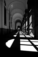 untitled (madrid, spain) (bloodybee) Tags: madrid light shadow people bw espaa building art window museum architecture vanishingpoint spain europe arch perspective corridor hallway lobby column prado museodelprado