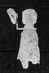 Poor Thing. Is She Wavig A Hat, Or What? (pni) Tags: people girl female suomi finland kid helsinki paint child pedestrian ground human figure helsingfors decrepit skrubu pni pekkanikrus pedestrianspaintedonpavement