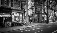 London-2621-2 (sally henny penny) Tags: uk blackandwhite monochrome market streetcorner manoncellphone londonengland 24105mmf4lisusm londonplanetrees canon6d london2013 lightroom5