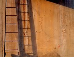 Morning Ladder (See El Photo) Tags: california ca morning light shadow red 15fav favorite orange sun color colour wall digital sunrise concrete outside outdoors climb wire colore sony steps minimal wash 300views ladder fav cracks less couleur redish faved dscf828 rungs latuna latunacyn