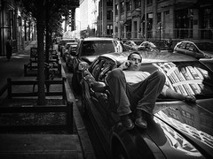 Car Phone (Ross Magrath) Tags: from street camera new york city nyc summer portrait bw usa white man black hot streets colour guy face car weather brooklyn contrast digital america wonderful dark photography mono weird high noir shadows gloomy phone serious pentax no candid character united north sunny v shade unknown shooting cropped format imaging gloom gr states hip agus ban lying heights drama miserable et blanc ricoh sneaky compact sensor humid informal dubh apsc vision:night=055