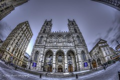 Entre Notre-Dame Basilica (yeahbouyee) Tags: city urban canada church monument architecture montreal basilica wide landmark notredame fisheye hdr photomatix tonemapped canoneos7d canon7d thechallengefactory rockinon8mm