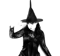 I put a spell on you (StellaDeLMattino) Tags: portrait bw white selfportrait black sexy halloween me girl self dark nikon witch creative bn spell highkey bianco ritratto nero bianconero martina biancoenero ragazza strega selfie d5000 stelladelmattino