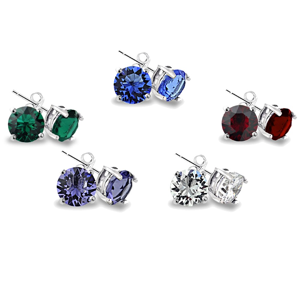 Silver Tone Multi Color Swarovski Elements Set Of 5 Stud Earrings