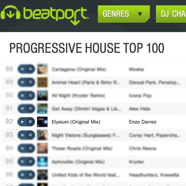 'Elysium' enteres No. 92 on #Beatport Progressive House Top100