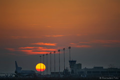 Airport Sunset (Mavroudakis Fotis) Tags: travel sunset summer sky people orange cloud sun sunlight motion beautiful silhouette speed airplane outdoors back airport shiny europe moody republic power view prague dusk aircraft air rear transport jet engine sunny off illuminated landing direction journey commercial transportation heat vehicle romantic glowing lit arrival traveling taking asphalt mode departure runway idyllic airfield taxiway