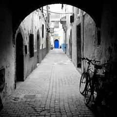 the blue door - ( explored ) (mujepa) Tags: door alley morocco maroc marrakech porte marrakesh ruelle oldtown selectivecolor blindalley mygearandme mygearandmepremium mygearandmebronze mygearandmesilver blinkagain