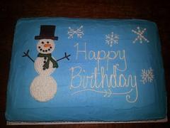 Snowman Cake by Christine, Linn County, IA, www.birthdaycakes4free.com