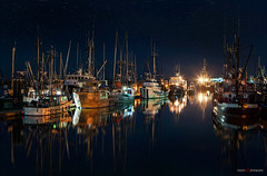 Winter Lights (Clayton Perry Photoworks) Tags: winter night vancouver reflections stars boats lights fishing richmond steveston