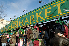 Large sign for Camden Market above clothing stalls, Camden Town, London (Roberto Herrett) Tags: city uk travel england people urban green london english tourism colors sunshine k fashion yellow horizontal shopping big colorful europe colours dynamic unitedkingdom britain famous capital sightseeing young cities sunny places bluesky tourist tourists diagonal clothes busy shirts u huge colored british colourful tshirts coloured tops sights alternative shoppers attractions locations stockphoto youthculture diagonally mandrinkingcoffee rherrettflk
